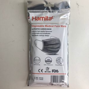 Hamita activated carbon medical mask 4 layers (Pack of 10) Exports, gray - ISO13485, CE, FDA certified