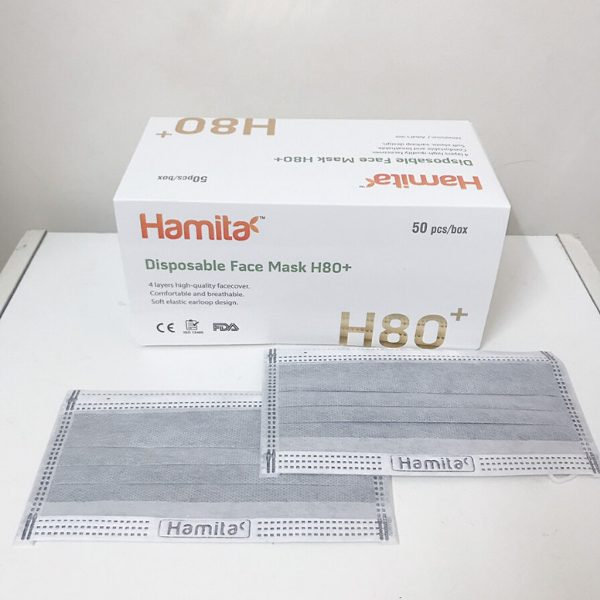 Hamita activated carbon medical mask 4 layers (Box of 50) Exports Model H80 + _ ISO13485, CE, FDA