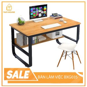 """At Tam House, the desk is a combination of art and creativity. All details are according to the idea of """"less is more"""" but extremely convenient and eye-catching. The design is simple to save space but still ensures aesthetics and usability. Removable tables and chairs for easy transport. Diverse color tone, suitable for many different styles There is an airy table top, stylized bookshelf under the table is extremely convenient and eye-catching. The table top is made from MFC industrial wood covered with melamin Iron legs painted electrophoresis SURFACE SIZE 100X50CM-120X60CM Table top height 73cm"""