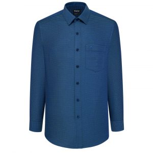 Patterned Blue Shirt - Long Sleeve Shirt - Men Shirt - 8N2694BT6 - L5V