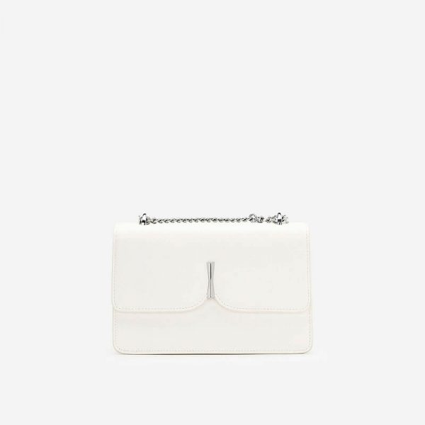 Bow-Tie Metal Buckle Strap Bow-Tie Bag - SHO 0180 - White