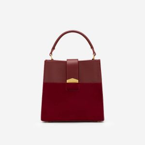 Nubuck Box Bottom Matching Handbag - SAT 0276 - Dark Red
