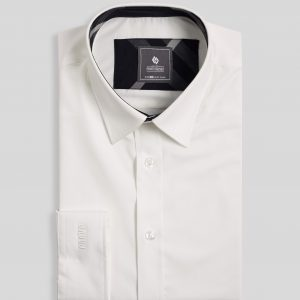 Ivory White Shirt With Black Neckline - Men Shirt - Long Sleeve SMD.1036