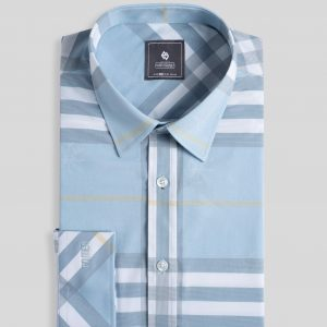 Light Blue Plaid Shirt - Men Shirt - Long Sleeve SMD.1044