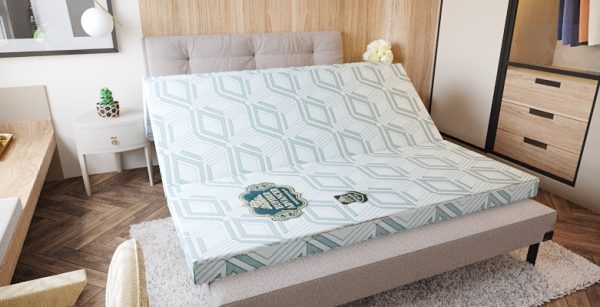 Natural Rubber Mattress - EUFIBER ADVANCED - White With Blue Pattern