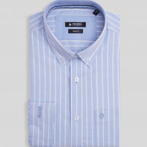 Patterned Blue Shirt - Men Shirt - Long Sleeve SMD.1112